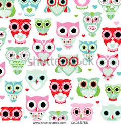seamless pastel powder color owl background pattern for kids in vector