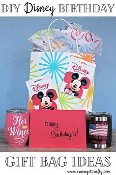 Gift Bag Set for Disney Diy Craft Projects, Crafts For Kids, Craft Ideas, Disney Diy, Walt Disney, Bourbon Gifts, Happy Wine, Scary Halloween, Halloween Gifts