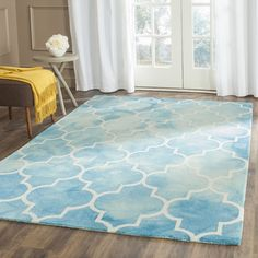 Hand-Tufted Turquoise/Ivory Area Rug | Wayfair