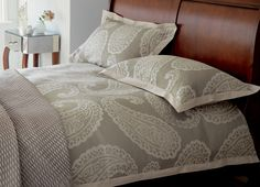 Emperor Jacquard Bedlinen  With its wonderful oversize paisley design, this high sheen, cotton-mix bedlinen gives sophisticated styling to the bedroom.  http://furnitureanddesignla.snappages.com/home