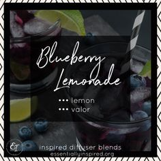 Blueberry Lemonade Diffuser Blend - it is AMAZING!!!!  🍋  runnnn to your diffuser and get it fired up!  Makes my mouth water just thinking about it!  Pop in 3 drops of lemon oil and 3 drops of Young Living's Valor!  It's wonderful and a summer favorite! The blog has a cool way to make up bottles of your fave blend so it's pre mixed and ready to go!!  Check it out and let me know what you think! #diffuser #diffuserblend #essentialoils #lemon #blueberry #valor Young Living Diffuser, Blueberry Lemonade, Lemon Oil, Essential Oil Diffuser Blends, Aromatherapy Oils, Young Living Essential Oils, Home Remedies, Bottles
