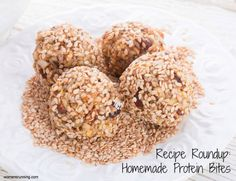 Recipe Roundup: Homemade Protein Bites! - Women's Running All look Delicious!! I like how they are smaller and the calorie count isn't as high as most protein snacks I see. Not sure if it's actually lower calorie or just smaller portions, but still I like having the option for lower calorie snack.