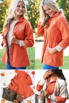 Stay chic with this trendy field coat! Available in khaki, navy and orange.  Pair this coat with some monogrammed boots and a cute monogrammed tote!