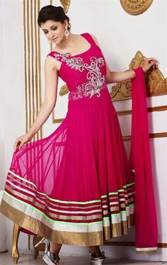 Picture of Scintillating Fuchsia Color Salwar Kameez for Wedding