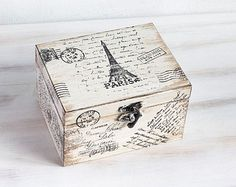 Paris Wooden Box Beige Treasury Box Jewelry by MyHouseOfDreams Decoupage Box, Decoupage Vintage, Shabby Vintage, Vintage Box, Jewellery Storage, Jewelry Box, How To Clean Gold, Vintage Cookies, Altered Boxes