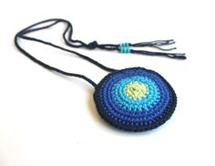 crochet mandala pouch necklace - medicine bag, money pouch - ombre dark blue, turqoise, lime green - crochet purse, bag, clutch - unisex on Etsy, 59.61 ₪