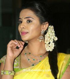 Manasa in Diamond Necklace and Jhumkas photo