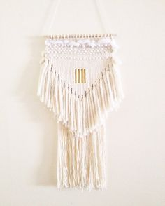 weaving wall hanging / white triangle no 2 / hand woven wall hanging art tapestry