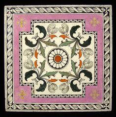 Victorian brown transferware tile classical pink 1885