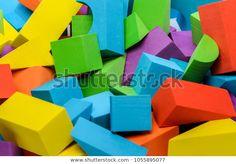 Bright Colorful Wooden Blocks Toys Background: stock fotografie (k okamžité úpravě) 1055895077 Wooden Blocks Toys, Color, Image, Colour, Colors