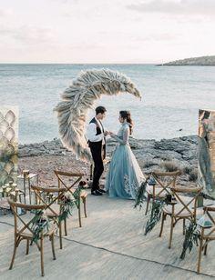 Secret Garden Wedding Inspiration With a Flower-Studded Dusty Blue Dress - Green Wedding Shoes Wedding Aisles, Wedding Ceremony Ideas, Moon Wedding, Celestial Wedding, Wedding Themes, Wedding Colors, Wedding Dresses, Wedding Flowers, Wedding Venues