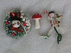 Snowman and Mushroom 3 Vintage Christmas Decorations, $2.99