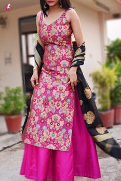 Buy Magenta Banarasi Padded Kurta Online in India New Fashion Saree, Indian Fashion Trends, Indian Designer Outfits, Indian Outfits, Designer Dresses, Silk Kurti Designs, Sari Blouse Designs, Kurti Designs Party Wear, Indian Prom Dresses
