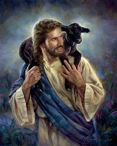 Nathan Greene The Good Shepherd Studio Canvas Giclee #NathanGreene #Inspirational. This portrayal shows the joy of Jesus in caring for His little lambs. There are times when a little lamb needs more than just being held--it needs to be carried. This painting shows Jesus doing just that! Do you see yourself in this picture?