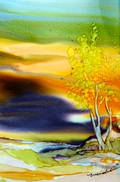 At Dusk. Alcohol Inks on Yupo. Print. Wendy by AlcoholInksWendy, $28.00