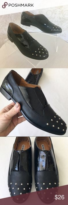 Hot 🔥 XOXO black studded Oxfords If I could fit into these, they would NOT be listed for sale! Laceless Oxfords in black vegan leather and vegan patent. Silver stud detailing at toe. Short black heel. NWOT; never even tried on. No box.  XOXO Shoes Flats & Loafers