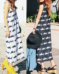 Want or Not? It's cute shark printed dress, black and white two colors, teenage girls and women are fitted. Outfit of the Day!