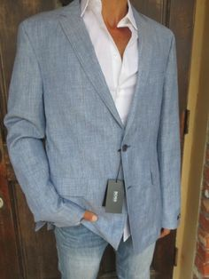 HUGO BOSS Mens Linen Virgin Wool Blue Gray Blazer Jacket Coat NEW $595 46L Long - NOW $125