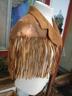 Vintage Hippie/Boho Leather Fringed Upper by NopalitoVintageMore, $30.00