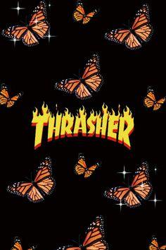 Aesthetic thrasher orange butterfly wallpaper
