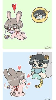 Bts Jimin, Jungkook Cute, Bts Bangtan Boy, Yoonmin Fanart, Vkook Fanart, Bts Cute, Cute Gay, Bts Chibi, Taekook