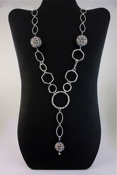 The Estate Piece...go vintage with these Rhinestone beads with all Sterling Silver chain.  Super long and gorgeous for everyday wear.  A statement that is simple.  $228.00.  #spitfire designs jewelry