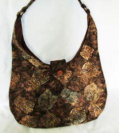 Owl batik fabric hobo bag