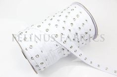 2 yards White Grommet Tape with Nickel Eyelet Cotton Twill Tape on Trim  #Unbranded