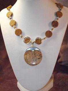 African Queen Picture Jasper Pendant Silver by BlackBearsBazaar, $60.00