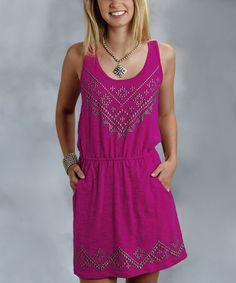 Another great find on #zulily! Fuchsia Studded Sleeveless Dress - Women by Stetson #zulilyfinds