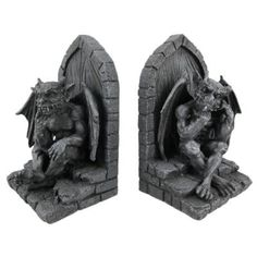 Gothic Gargoyle Stone Finish Book Ends Bookends
