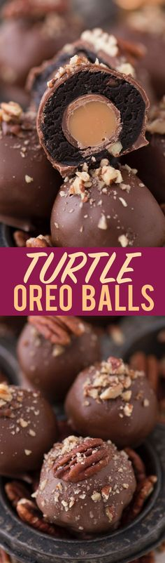 The ultimate turtle oreo ball with chocolate, caramel and nuts! Each oreo ball is stuffed with a ROLO!