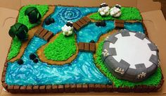 A 100% gluten-free cake, decorated with a Skylander's theme.