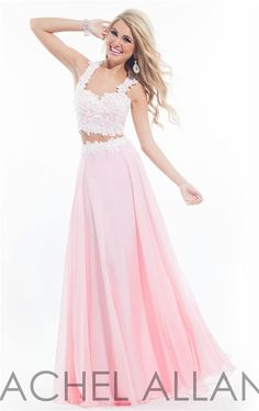 2015 prom dresses | 2015 Lace Two Piece Rachel Allan 6832 Long Pink Prom Dresses