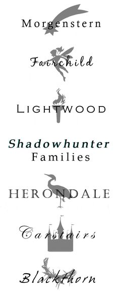 Some of the Shadowhunter Families (see source link for the original animated version) Shadowhunters The Mortal Instruments, Mortal Instruments Runes, Immortal Instruments, The Dark Artifices, Family Names, Cassie Clare, The Infernal Devices, Shadow Hunters, Fandoms