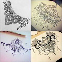 The new fashion of tattoos is where the designs are made. The underboobs . Hip Tattoos Women, Leg Tattoos, Body Art Tattoos, Sleeve Tattoos, Tatoos, Mandala Thigh Tattoo, Sternum Tattoo, Lace Tattoo, Bum Tattoo