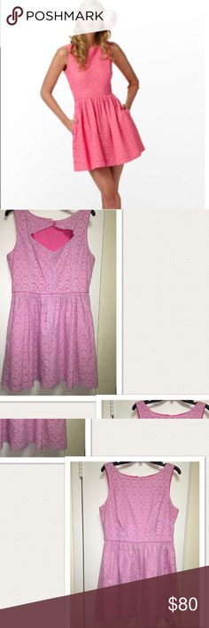 """Lilly Pulitzer-Alessa Dress-Retail:$238 Used-with one stain as pictured in photo (4). Otherwise in fair condition. No, PayPal offers, all offers through Poshmark will be considered!! 1st photo is just for your reference. Sleeveless boatneck dress with full skirt and cutout detail on back. 18"""" from natural waist to hem. Dry clean only. Fine lt wt daisy lace. Lilly Pulitzer Dresses Midi"""