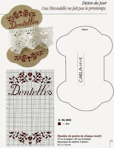 "Lovely heart things: Cross Stitch: ""Bobbins for lace and sewing"" Cross Stitching, Cross Stitch Embroidery, Embroidery Patterns, Hand Embroidery, Cross Stitch Charts, Cross Stitch Designs, Cross Stitch Patterns, Sewing Accessories, Sewing Notions"