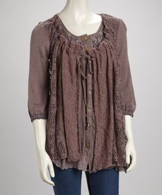 Take a look at this Mauve Lace Scoop Neck Linen-Blend Button-Up Tunic by Pretty Angel on #zulily today!