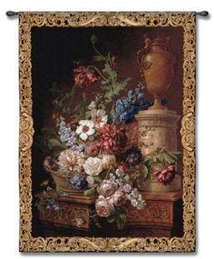 Old World Floral Centerpiece Art Tapestry Wall Hanging