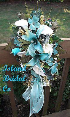 BRIDE SILK WEDDING BOUQUET BLUE HAWAII(TURQUOISE)WHITE LILY CUSTOM DESIGN 15 PC in Home & Garden, Wedding Supplies, Flowers, Petals & Garlands | eBay