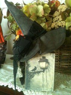 #Primitive #Halloween #WitchHat Decor Block Black by VintageHare, $7.88 #crow