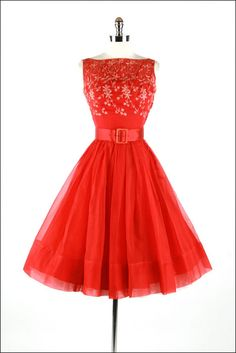 ~Adorable Vintage 1950s Red Organza Dress by Joan Berrie~