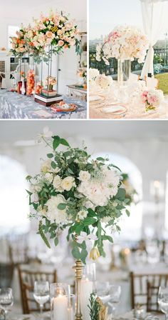 Centros de mesa altos para bodas #weddingdecor #weddingideas #decoracionbodas
