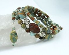 Memory Wire Bracelet Picasso Jasper by TrishDesignsJewelry on Etsy - DIY @ Craft's
