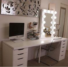 Best Makeup Organization Vanity Bedrooms Beauty Room Desks Ideas Source by gracemariegr makeup organization Vanity Room, Vanity Decor, Vanity Ideas, Ikea Makeup Vanity, Makeup Desk, Vanity Desk Ikea, Black Makeup Vanity, Makeup Tables, Makeup Vanities