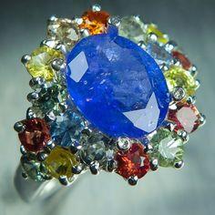 2.7ct Natural purple blue Tanzanite & sapphire Sterling 925 silver ring £149.00