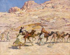 Algérie - Peintre Français, Alphonse Étienne Dinet (1861-1929), huile sur toile ,Intitulée: Caravane à Laghouat