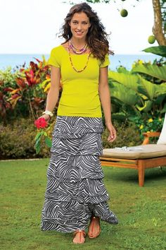"""Overlapping tiers create a flattering dimensional sensation in this soft jersey knit skirt, with a comfy pull-on elastic waist. Cotton/modal. Misses 38"""" long. Knit Layers Skirt #26551"""
