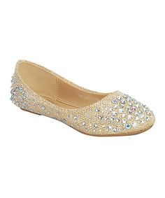 Look at this Step Up Shoes Champagne Rhinestone Larisa Flat on #zulily today!
